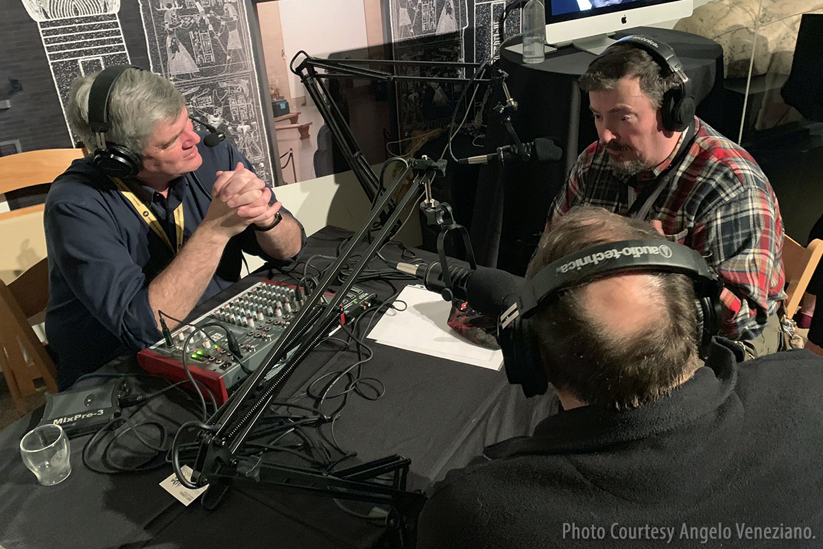 WhiskyCast's Mark Gillespie with Martin Duffy(R) and Lew Bryson (front) at the American Whiskey Convention in Philadelphia April 5, 2019. Photo courtesy Angelo Veneziano.