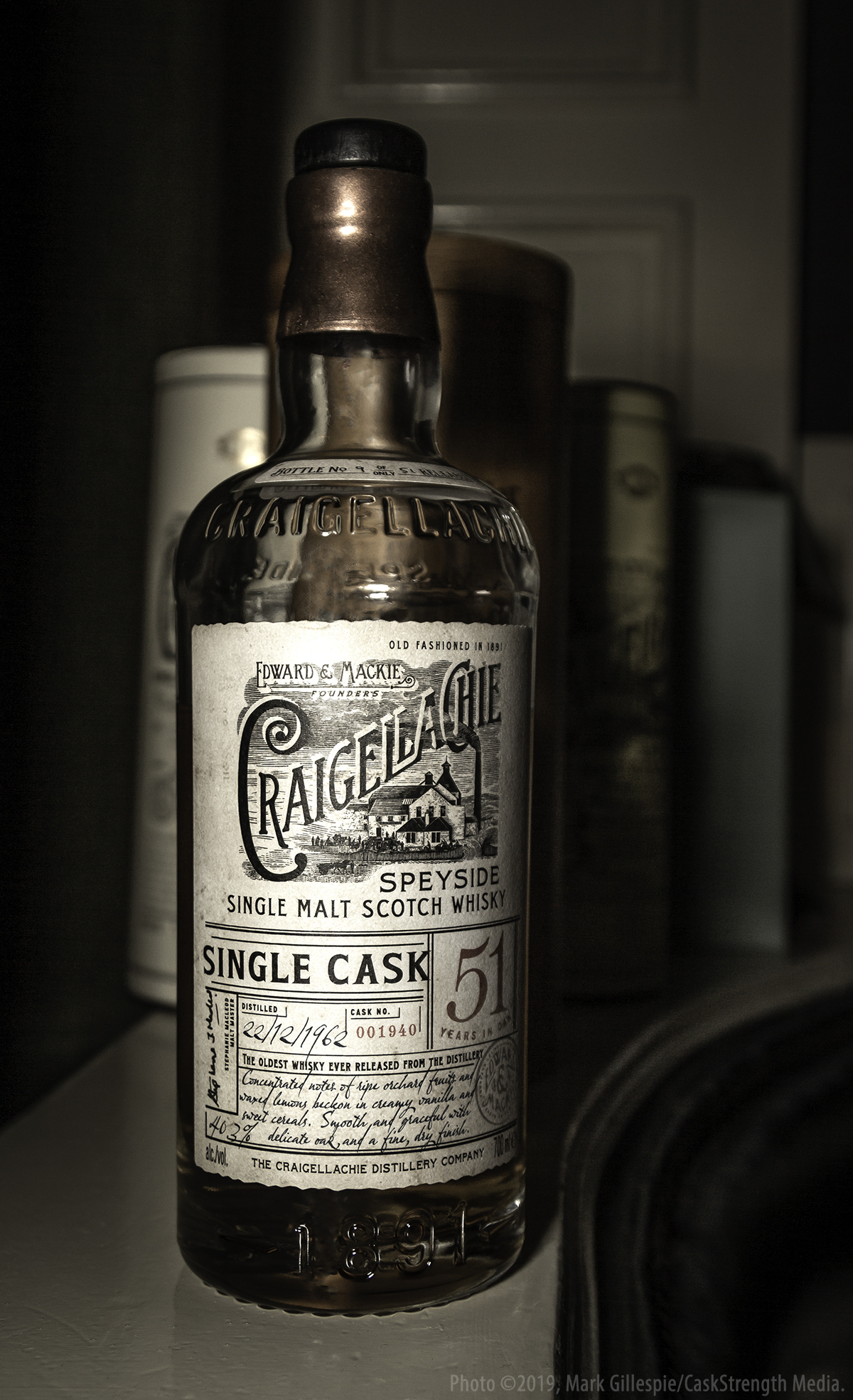 This is one of only 51 bottles of the Craigellachie 51-year-old single cask from 1962. 150 people had the chance to taste it for free last November in London, and 150 more will get to taste it from May 7-9 in New York City. Two more free tastings are planned for later this year in South Africa and Australia. Photo ©2019, Mark Gillespie/CaskStrength Media.