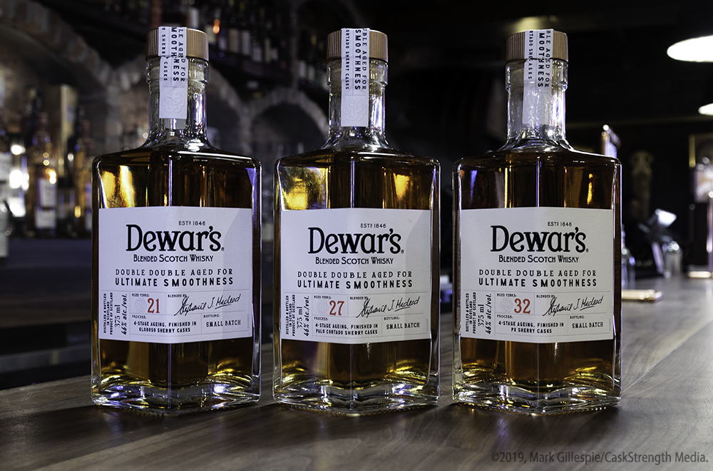 "The Dewar's ""Double Double"" range of Scotch Whiskies. Photo ©2019, Mark Gillespie/CaskStrength Media."