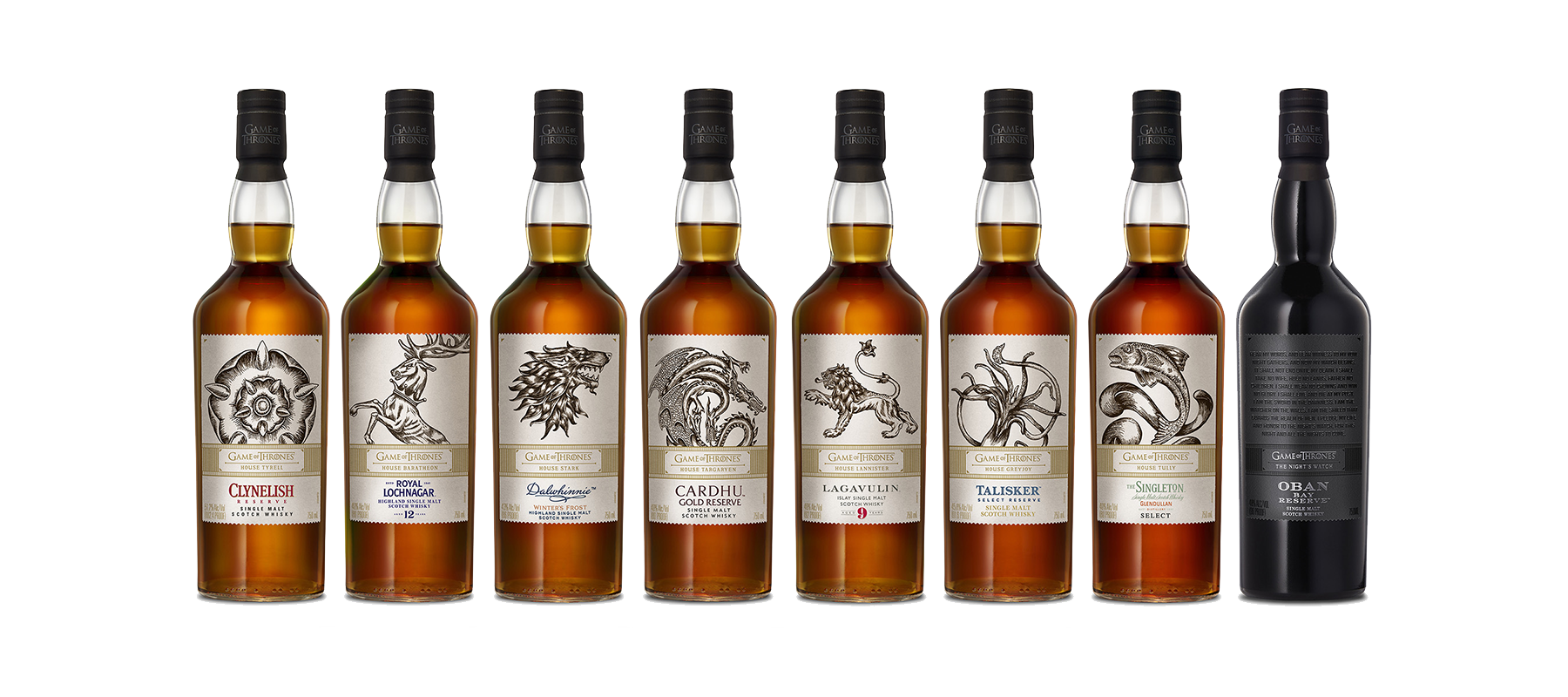 Diageo's Game of Thrones Single Malt Scotch Whisky Collection. Image courtesy Diageo.
