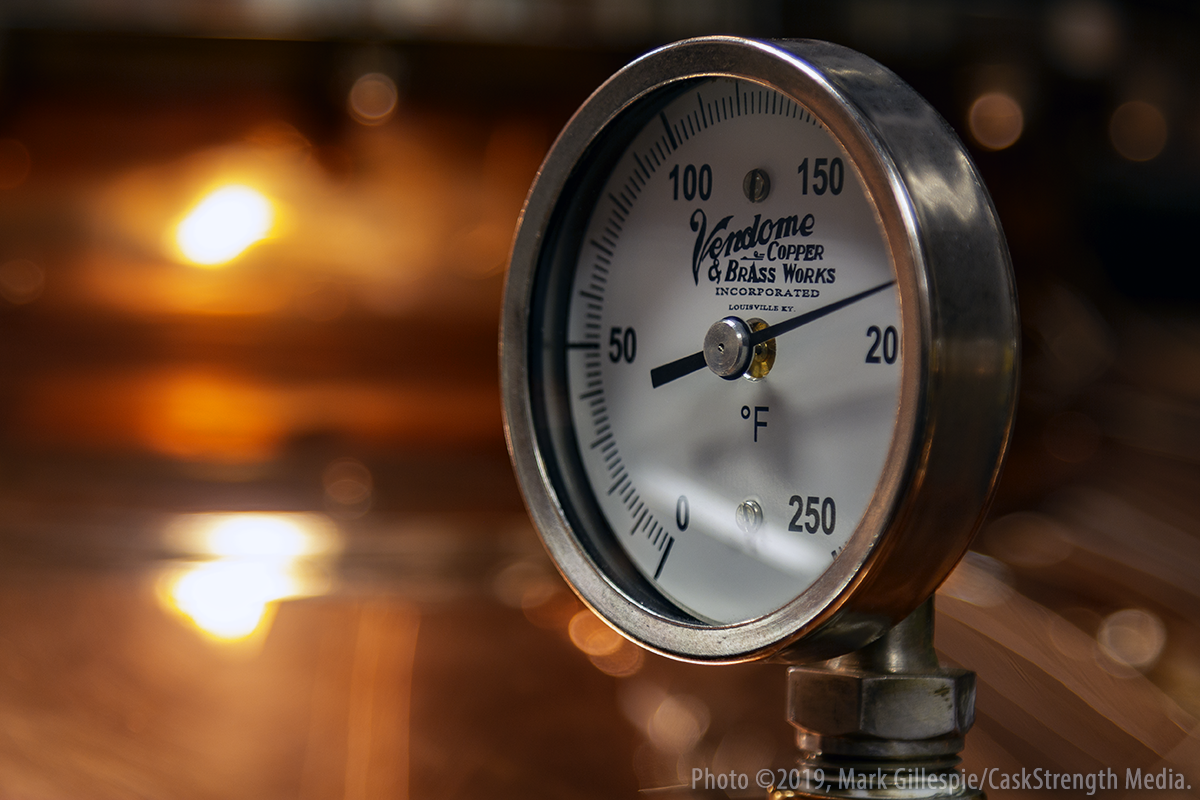 It's a humble thermometer, but when it's part of a copper still, it can be a thing of beauty. This thermometer is used by the three-member distilling team at the Evan Williams Bourbon Experience in Louisville. Photo ©2019, Mark Gillespie/CaskStrength Media.