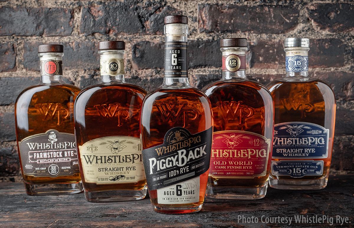 The WhistlePig Rye range of whiskies. Image courtesy WhistlePig Rye.
