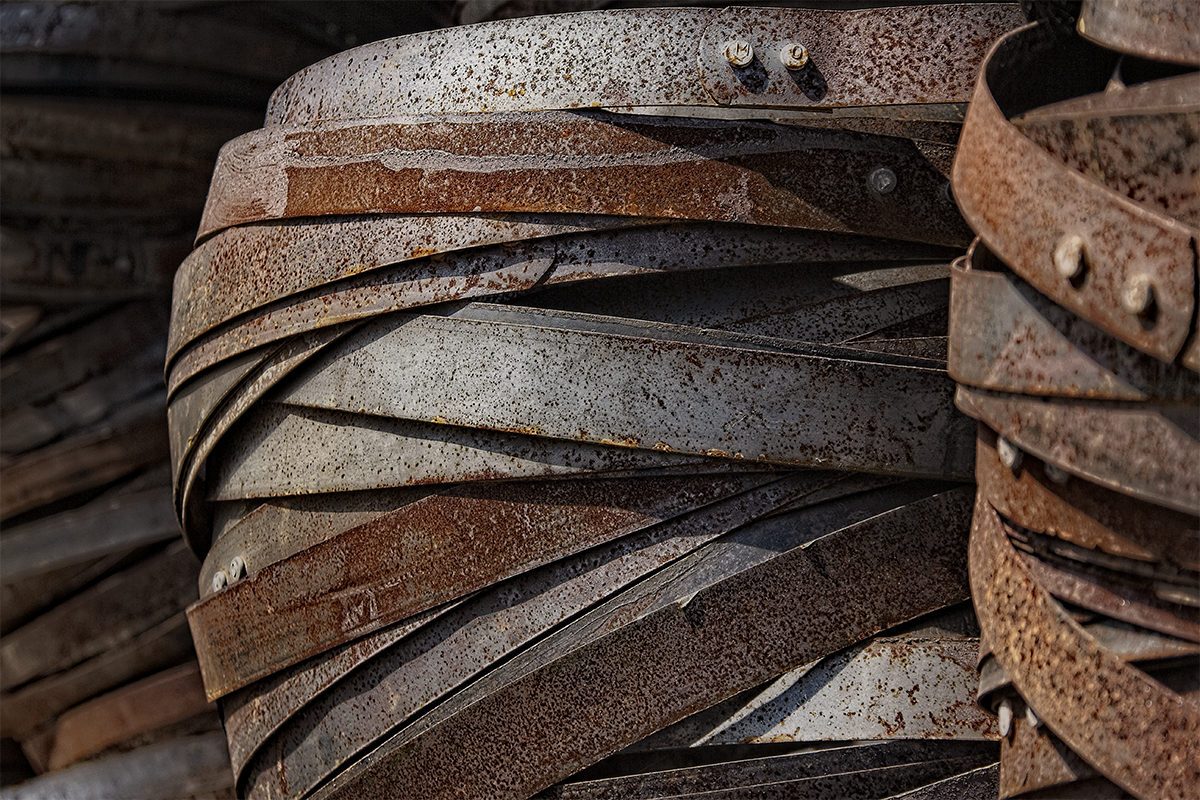 Look around most distilleries, and chances are you'll find a few stacks of old steel barrel hoops, rusty but ready to be put back into service. These stacks were found at Virginia's Copper Fox Distillery. Photo ©2019, Mark Gillespie/CaskStrength Media.