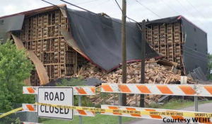 One corner of a rickhouse at the O.Z. Tyler Distillery in Owensboro, Kentucky collapsed on June 17, 2019. Photo courtesy WEHT-TV.