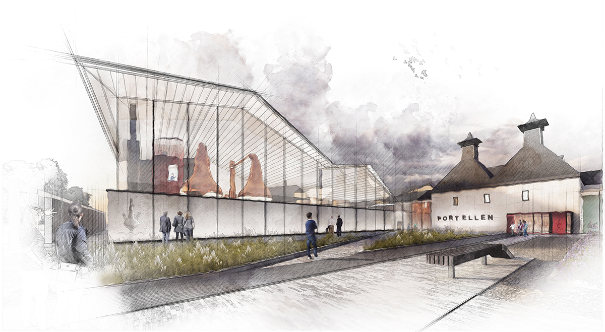 An architect's rendering of the Port Ellen Distillery revival project. Image courtesy Diageo.