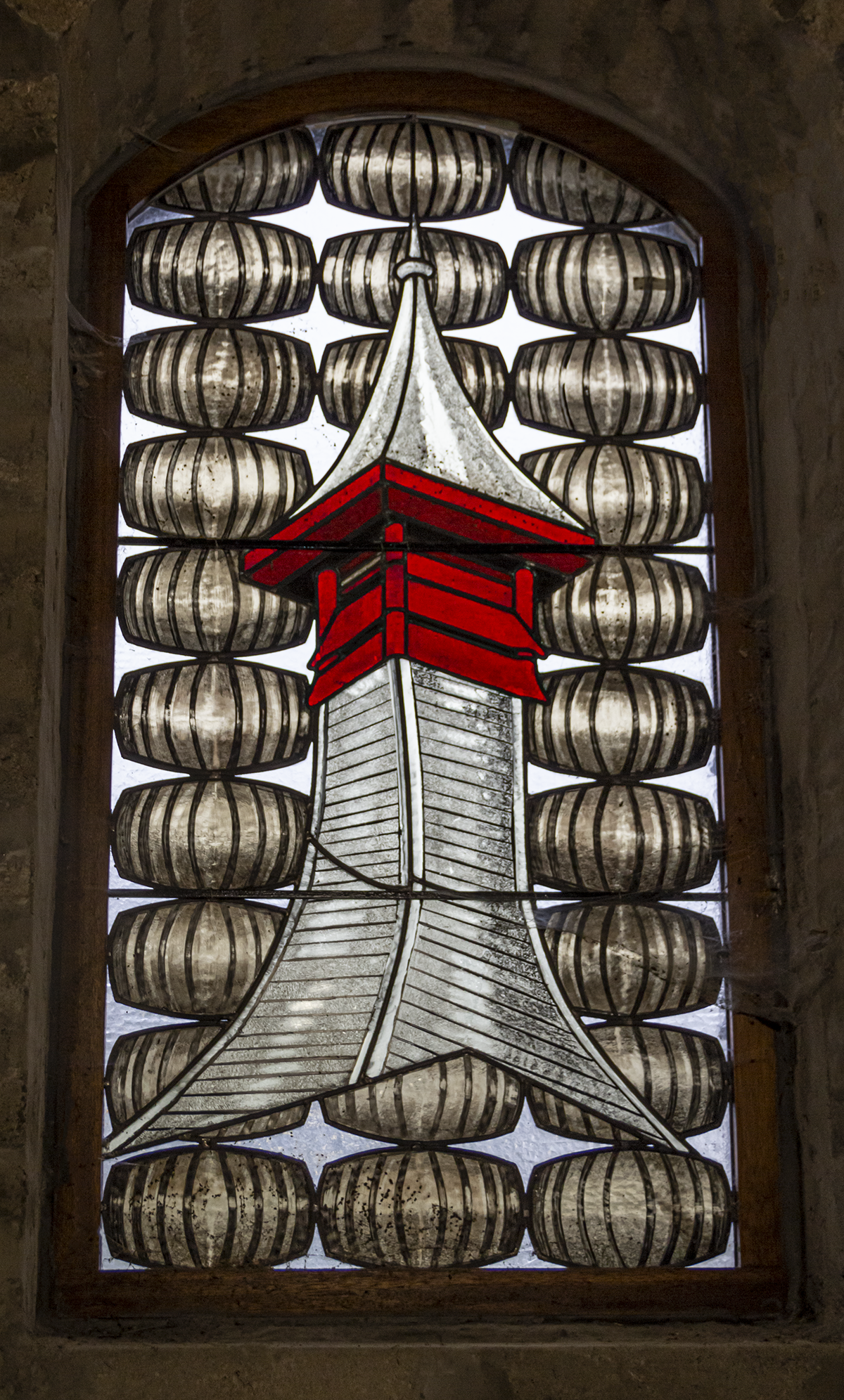 More distilleries need  to have stained glass windows in their warehouses like this one at Scotland's Knockdhu (anCnoc) Distillery!