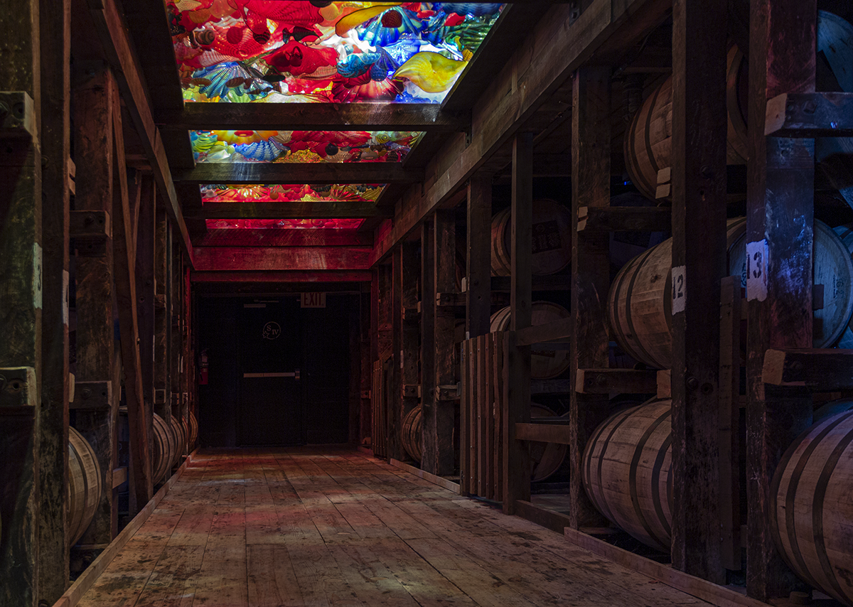 A Maker's Mark warehouse complete with a Dale Chihuly glass installation. Photo ©2019, Mark Gillespie/CaskStrength Media.