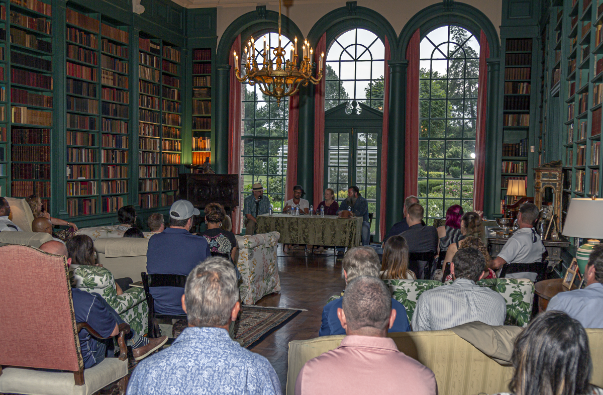 Bourbon Salon host Micheal Veach leads a discussion with Larry Rice, Margo McMillen, and Joe Head at Louisville's Oxmoor Farm August 8, 2019. Photo ©2019, Mark Gillespie/CaskStrength Media.