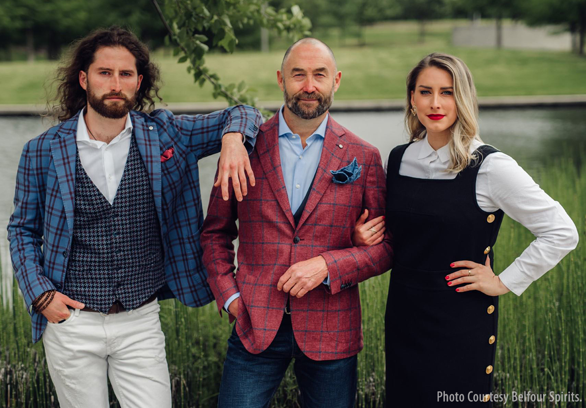 The Belfour family: (L-R) Dayn, Ed, and Reaghan Belfour. Image courtesy Belfour Spirits.