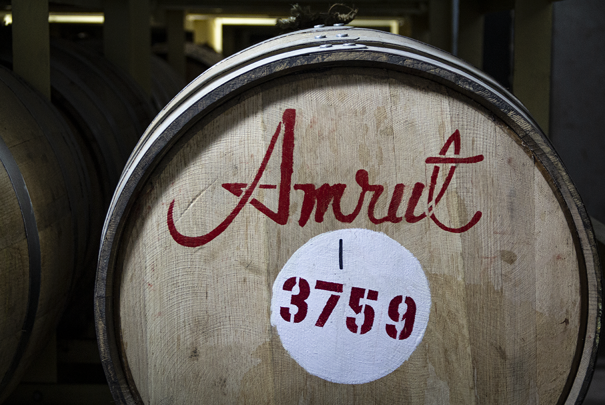 A cask of Amrut Single Malt Whisky maturing at the distillery in Bangalore, India. Photo ©2019, Mark Gillespie/CaskStrength Media.