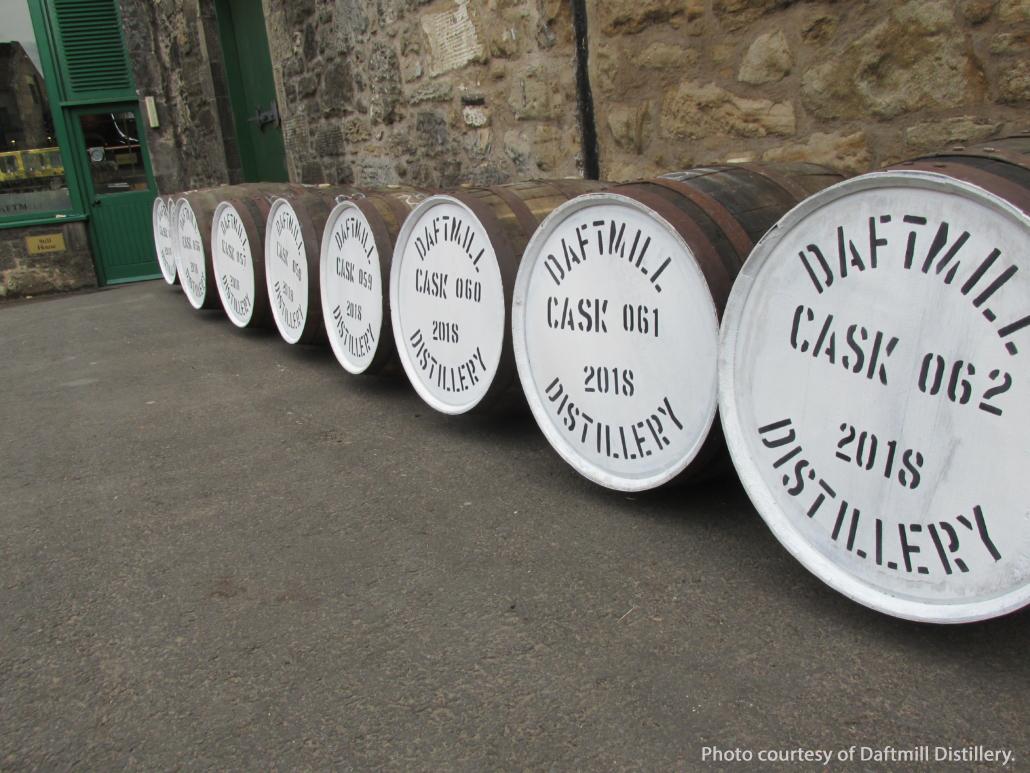 Casks of whisky at Scotland's Daftmill Distillery. Image courtesy Daftmill Distillery.