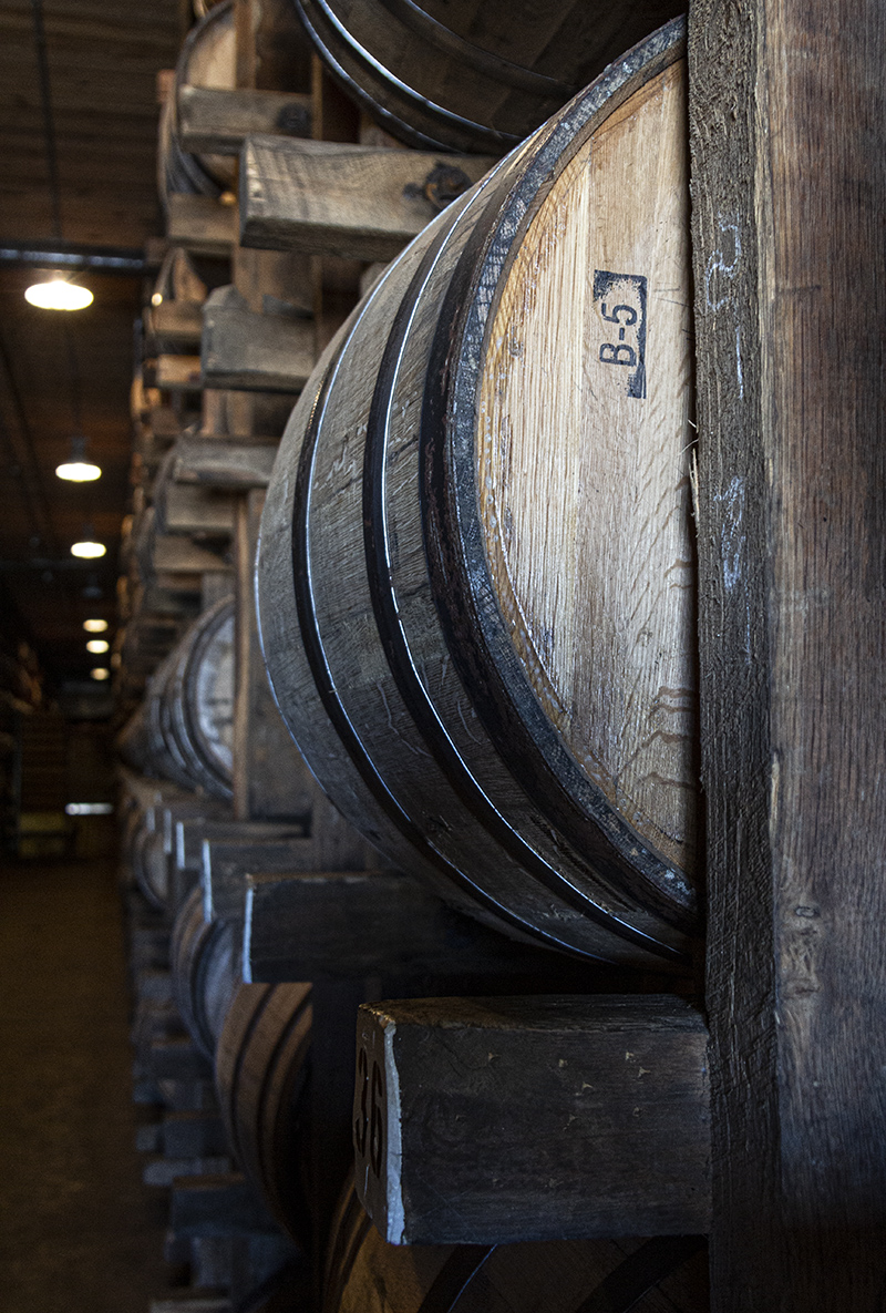 Rickhouses offer amazing opportunities for photographers, such as this warehouse at Diageo's Cascade Hollow Distilling Co. in Tennessee. Photo ©2019, Mark Gillespie/CaskStrength Media.