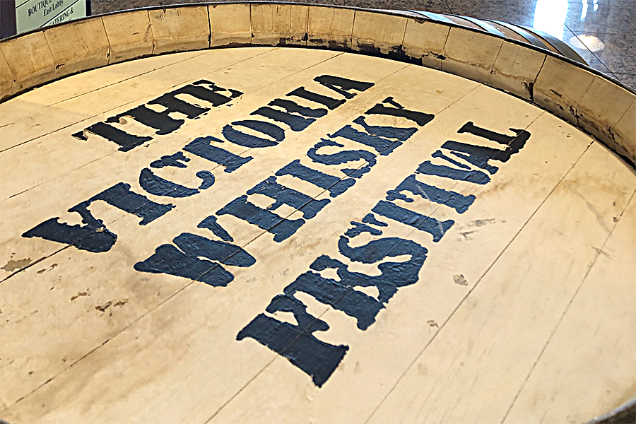 A barrel sign for the Victoria Whisky Festival in Victoria, British Columbia. Photo ©2020, Mark Gillespie/CaskStrength Media.