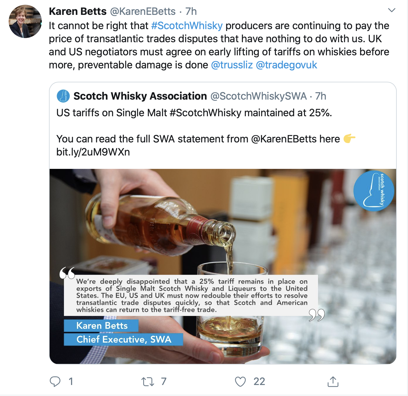 A Tweet from Scotch Whisky Association CEO Karen Betts reacting to the US decision to keep a tariff on single malt Scotch Whisky imports in place. Image courtesy Twitter.