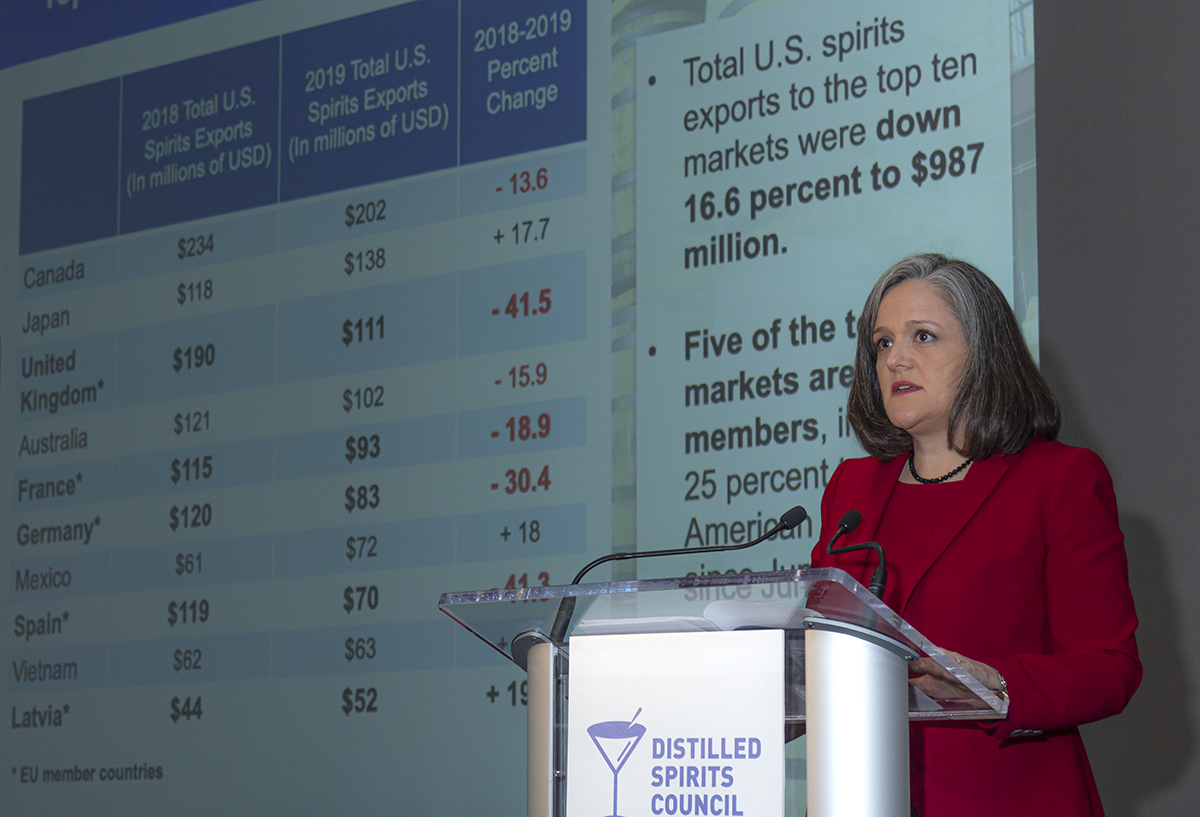 It's hard to describe an economic briefing in one image, but this one of Distilled Spirits Council public policy chief Christine LoCascio outlining the impact of the European Union tariff on American Whiskies during today's briefing in New York City is a good start. It's also our Whisky Photo of the Week...can't always be photos of pretty stills or barrels in the warehouse, gang! ;)