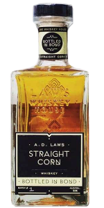 A.D. Laws Bottled in Bond Corn Whiskey. Image courtesy Laws Whiskey House.
