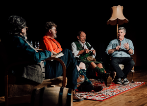 The DramFest 2020 panel (L-R): Dave Broom, Michael Fraser Milne, Charles Maclean, and Mark Gillespie. Photo courtesy Whisky Galore/DramFest.