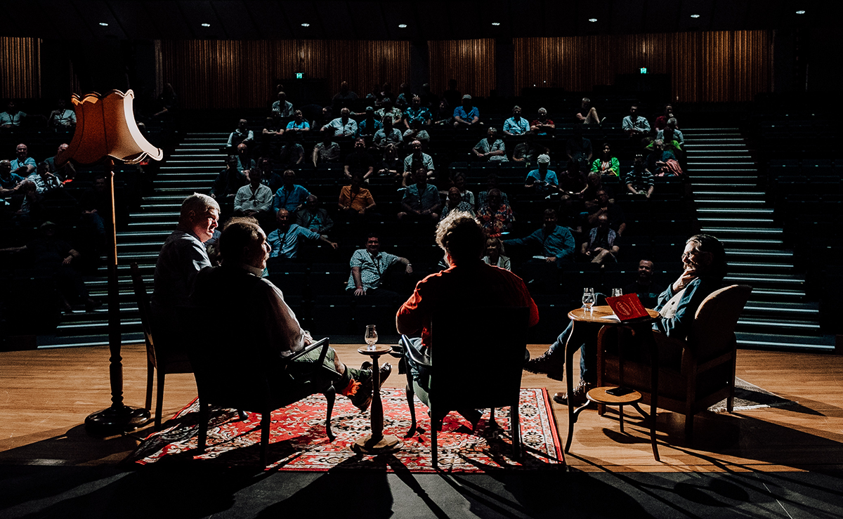 The DramFest 2020 panel on stage at Christchurch Town Hall March 7, 2020. Photo courtesy Whisky Galore/DramFest.