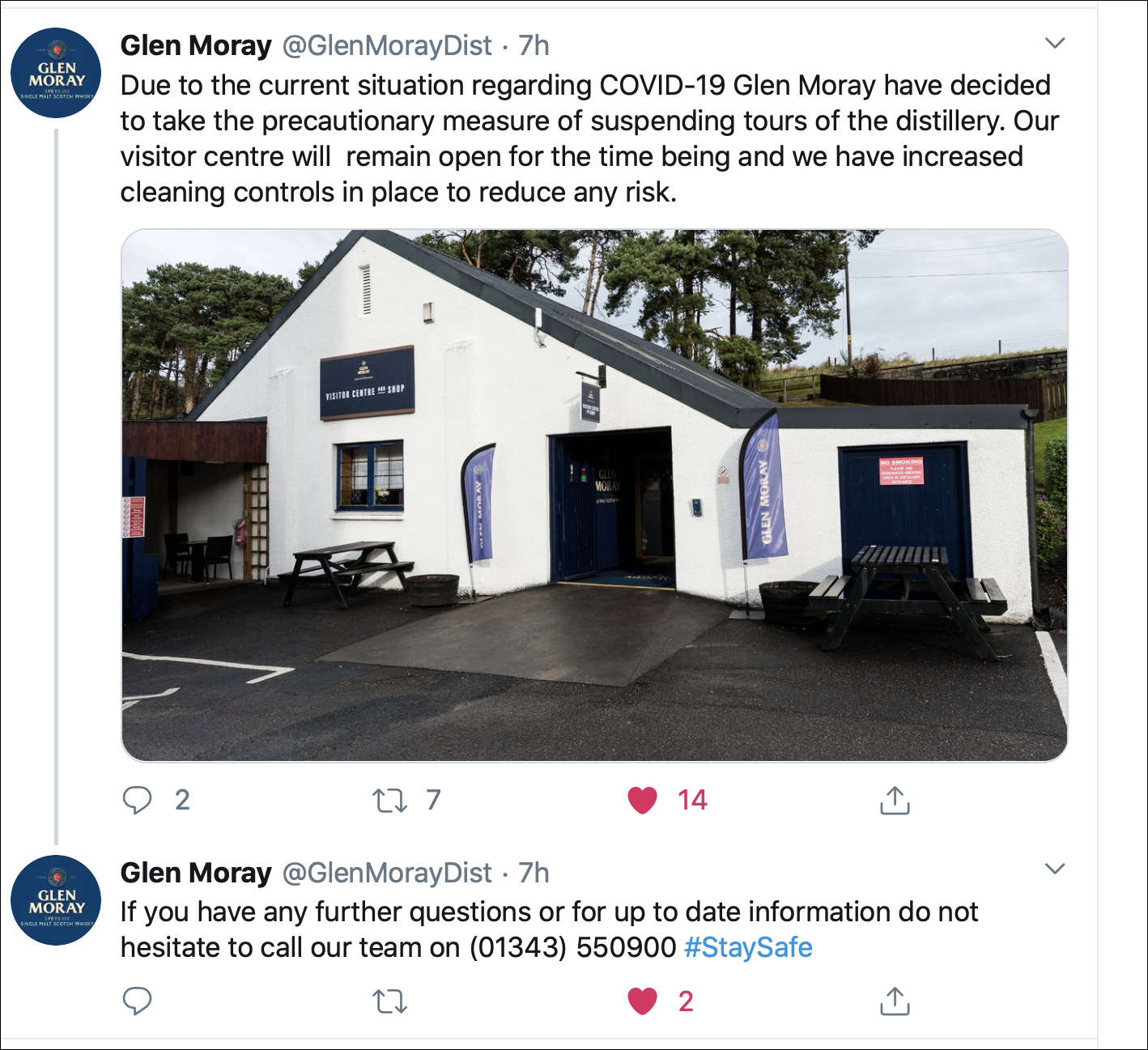 Tweets from Glen Moray Distillery announcing the suspension of tours because of the coronavirus pandemic. Image courtesy Twitter.