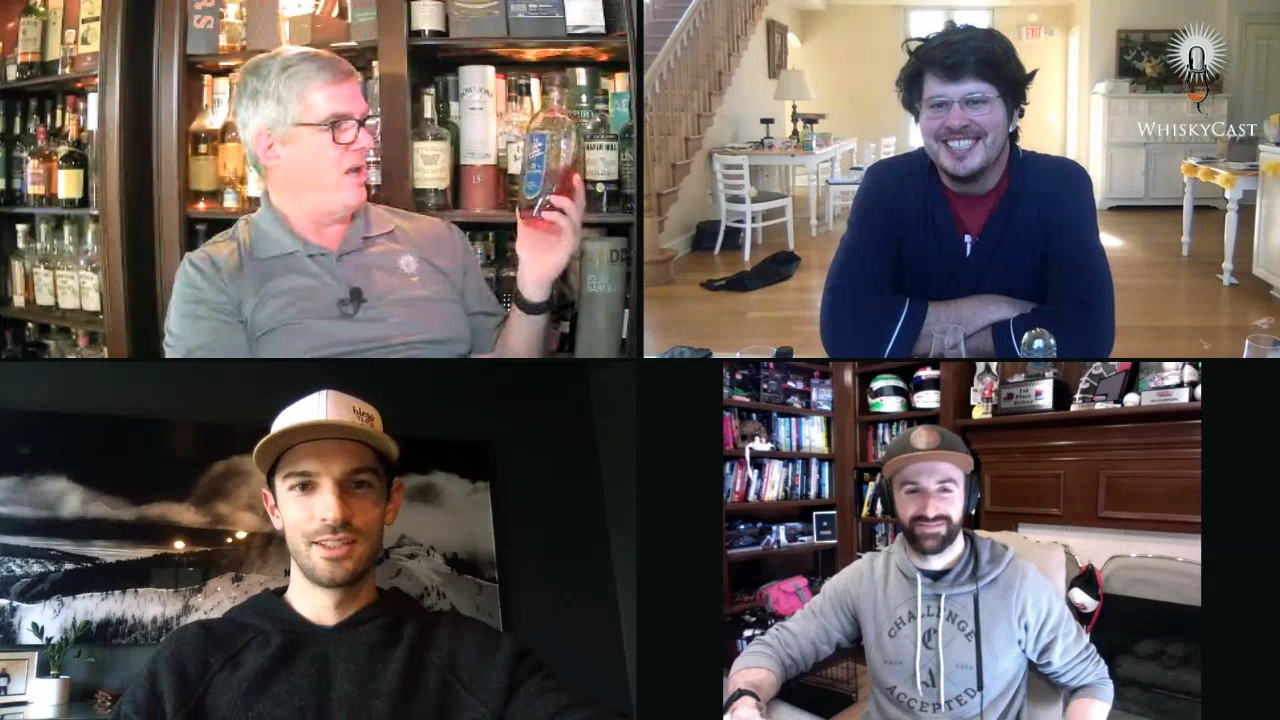 "Our April 15 webcast featured a Bourbon tasting with the guys from ""Off Track with Hinch & Rossi,"" IndyCar drivers Alexander Rossi (bottom left) and James Hinchcliffe (bottom right), and their producer, Tim Durham (upper left). Photo ©2020, CaskStrength Media."
