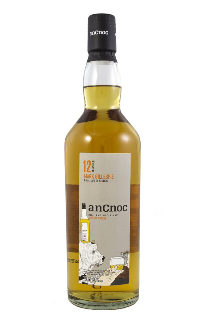 Our Old English Sheepdog Frizzle appears on this bespoke bottle of anCnoc thanks to illustrator Peter Arkle and the team an anCnoc.