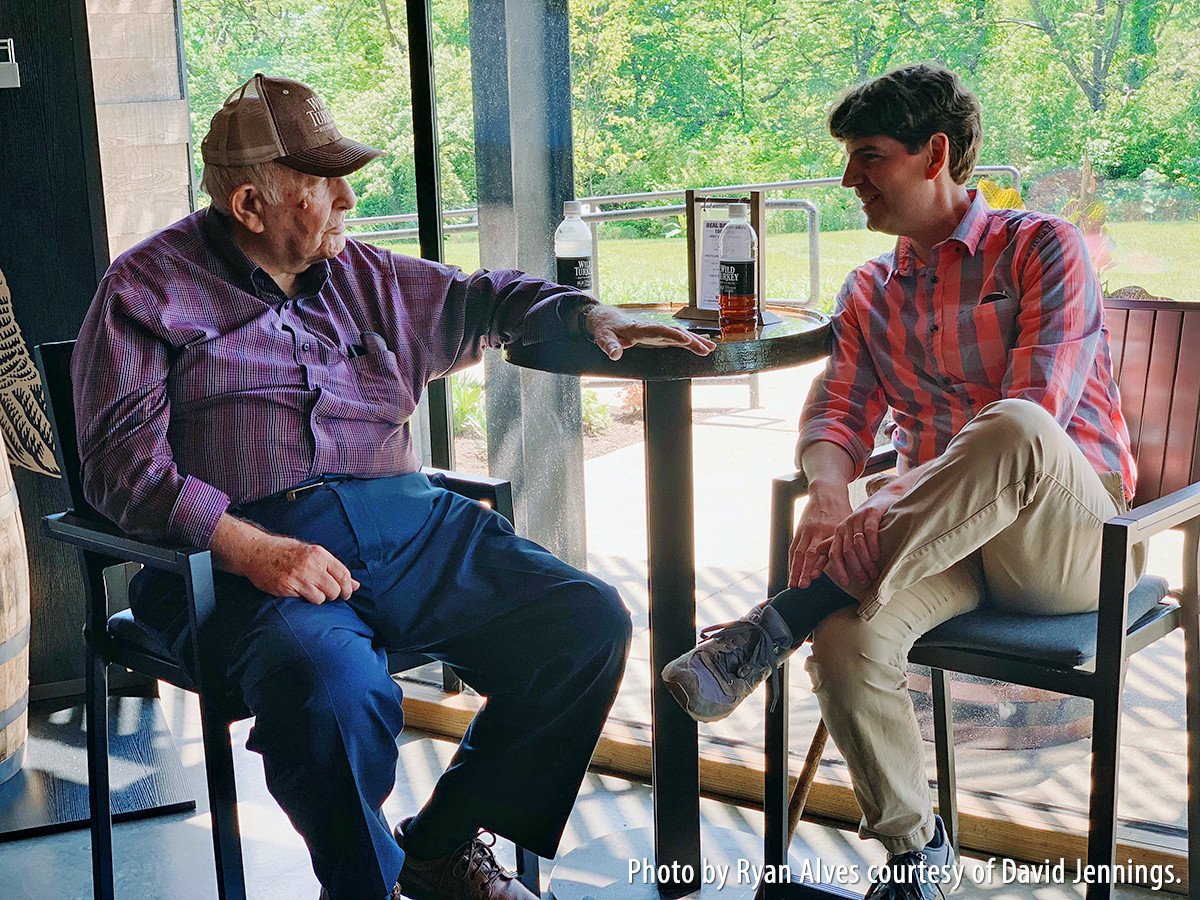 Wild Turkey Master Distiller Jimmy Russell (L) and author David Jennings at the distillery in Lawrenceburg, Kentucky. Photo by Ryan Alves courtesy of David Jennings.