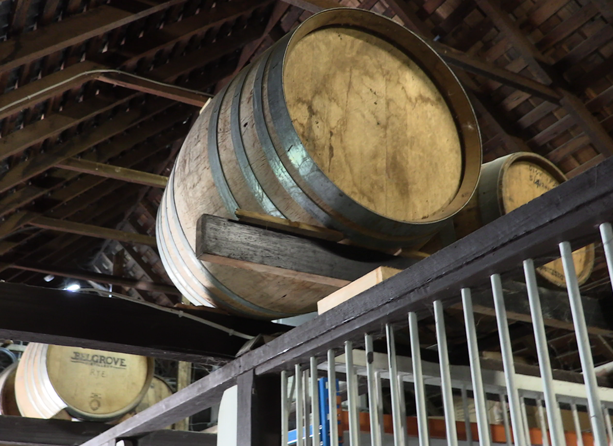 Belgrove barrels in the rafters.