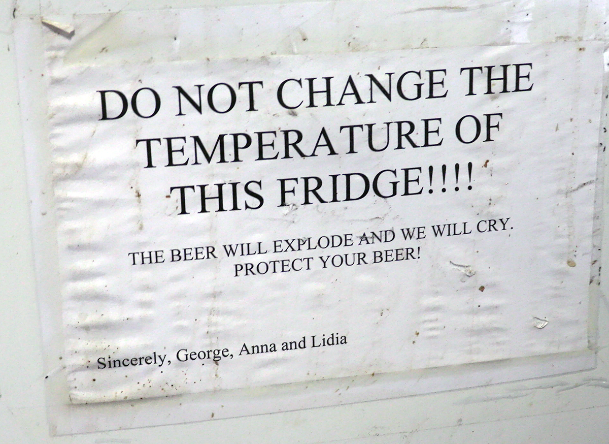 Beer refrigerator sign