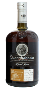 Bunnahabhain 2008 Manzanilla Matured Islay single malt whisky. Image courtesy Bunnahabhain/Distell.