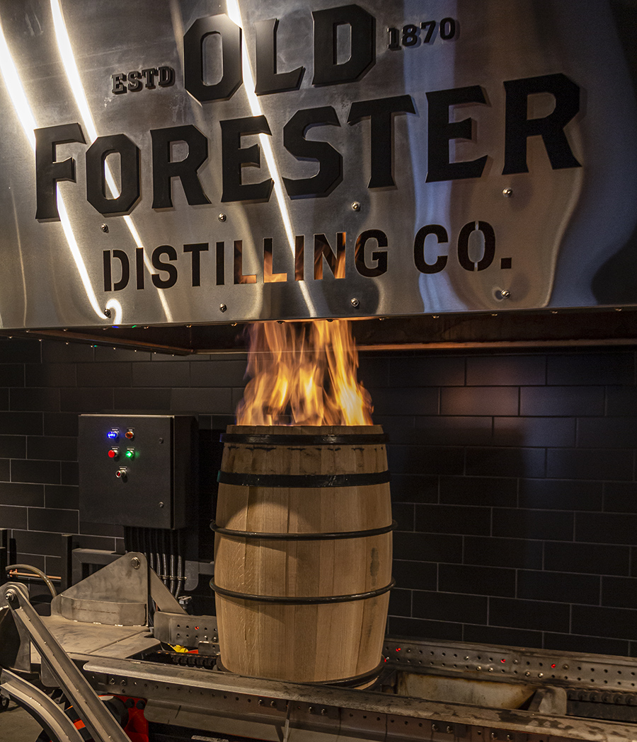 A Bourbon barrel being charred at the Old Forester Distillery's on-site cooperage in Louisville, Kentucky. Photo ©2020, Mark Gillespie/CaskStrength Media.