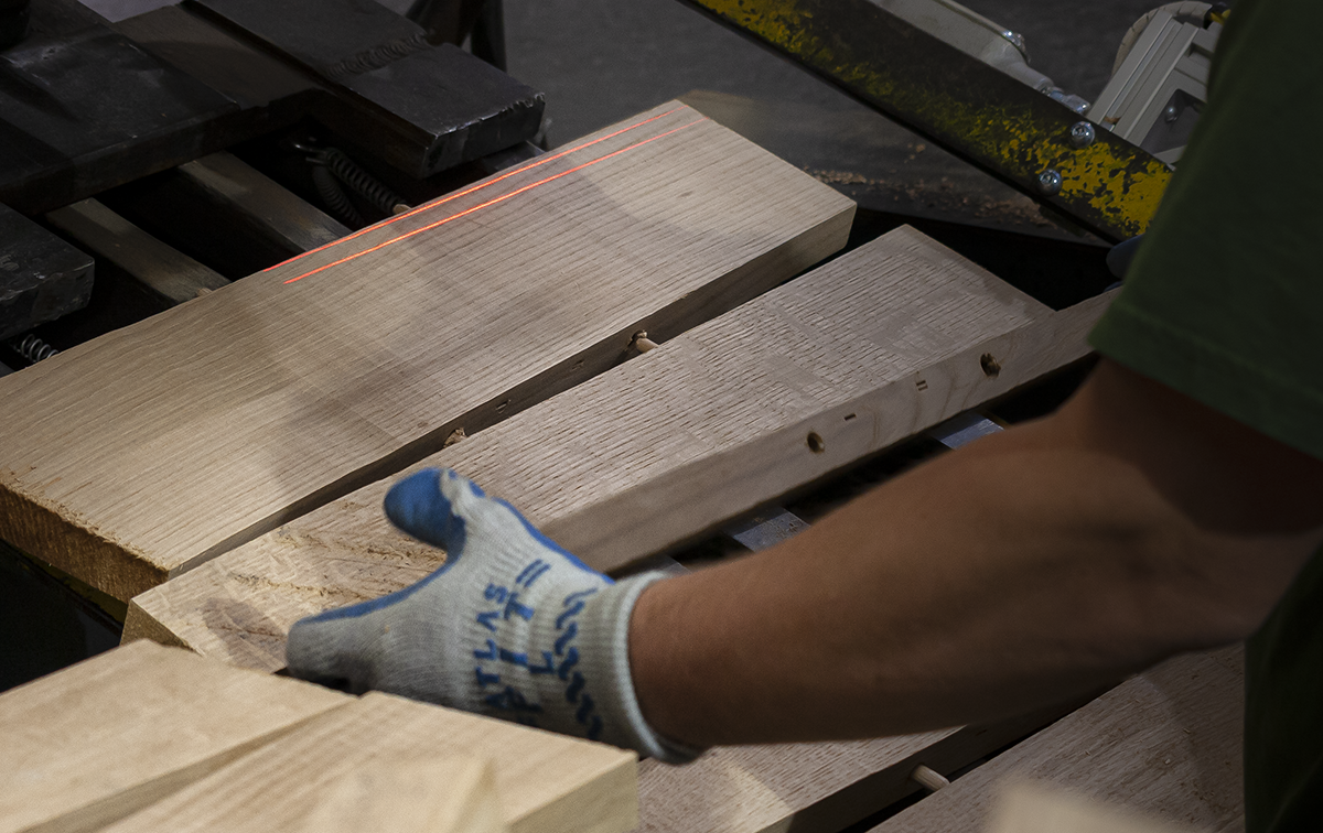 Technology plays a role in today's barrel cooperages, but making barrels still relies on tried-and-true carpentry, such as the dowel pins that hold barrel heads together without any adhesives.