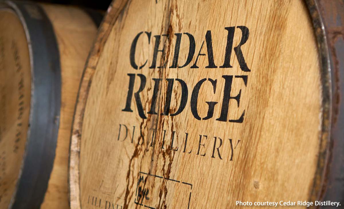 A barrel of Cedar Ridge Iowa Whiskey. Image courtesy of Cedar Ridge Distillery.