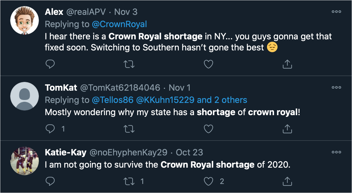 Twitter posts on the shortage of Crown Royal. Image courtesy Twitter.