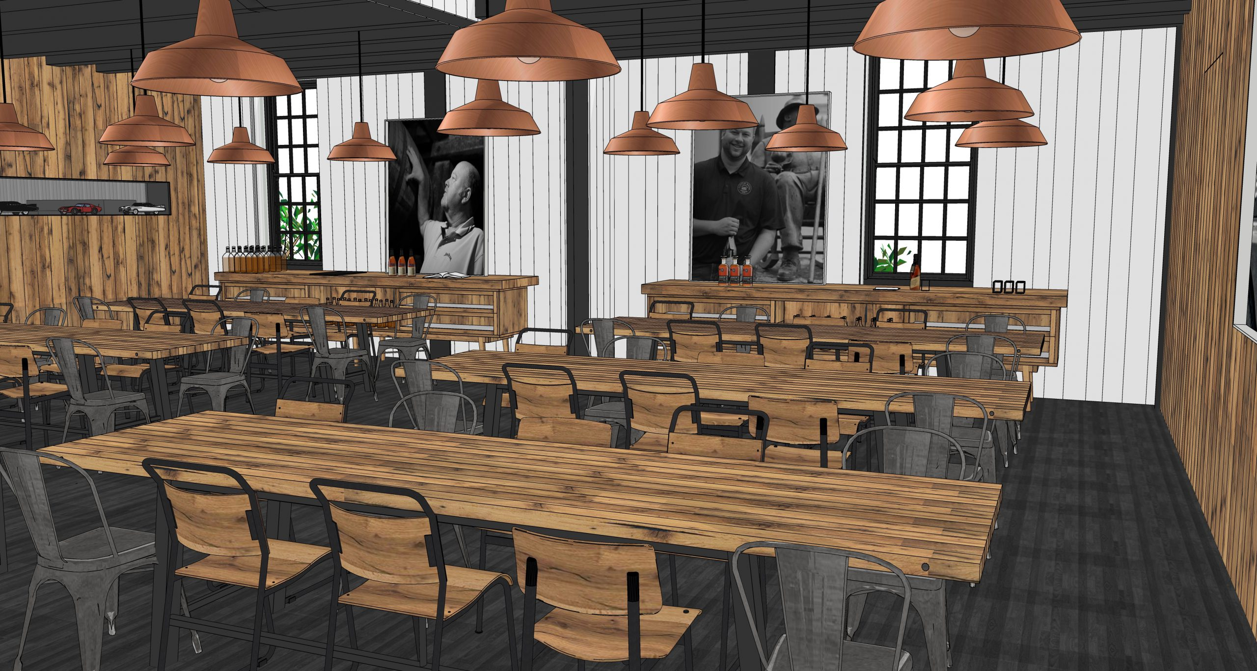An architect's rendering of the new tasting rooms at the Jim Beam American Outpost in Clermont, Kentucky. Image courtesy James B. Beam Distilling Company.
