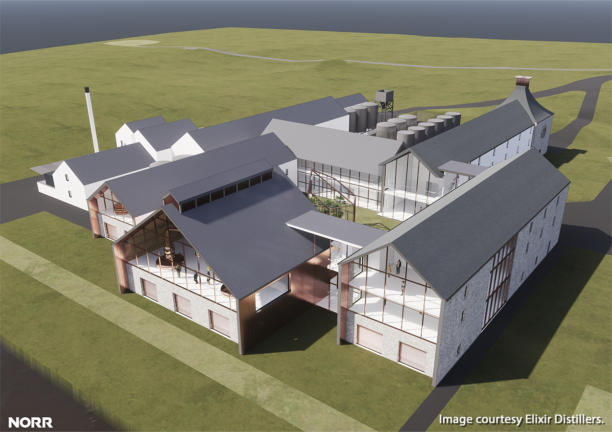 An architect's rendering of the new Elixir Distillers distillery to be built on Scotland's Isle of Islay. Image courtesy Elixir Distillers.