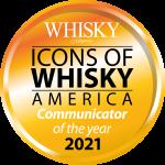 """Whisky Magazine's 2021 Icons of Whisky America """"Communicator of the year"""" logo. Image courtesy Paragraph Publishing."""
