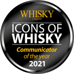 "Whisky Magazine's 2021 Icons of Whisky ""Communicator of the year"" logo. Image courtesy Paragraph Publishing."