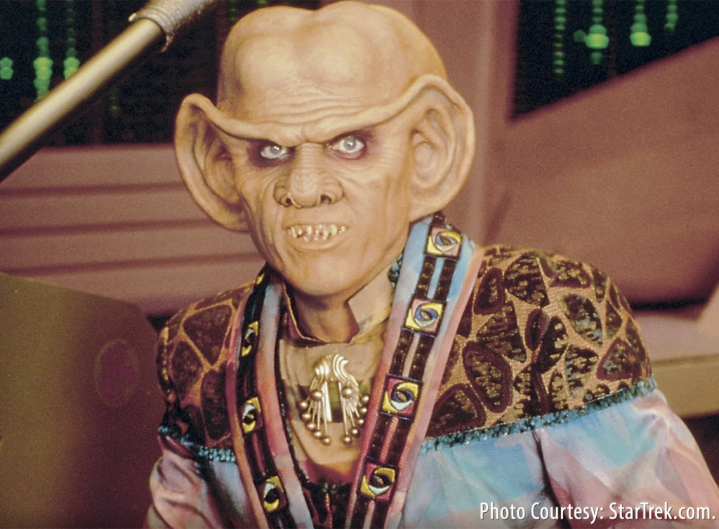 "Quark owned a bar in ""Star Trek: Deep Space Nine"" and certainly would never have lowered his whisky prices after the end of tariffs. Image courtesy StarTrek.com."