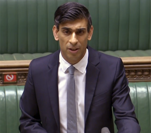 Chancellor of the Exchequer Rishi Sunak presents the 2021 Budget to Parliament March 3, 2021. Image courtesy Parliament TV.