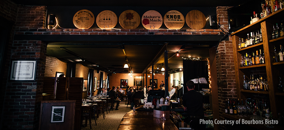 The interior of Bourbons Bistro in Louisville, Kentucky. Photo courtesy Bourbons Bistro.