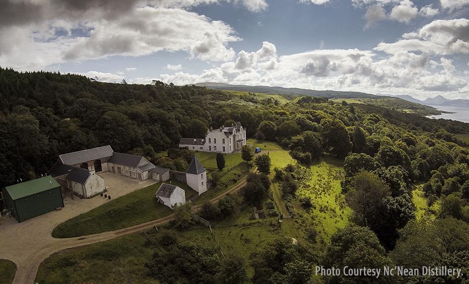 An aerial view of Scotland's Nc'Nean Distillery. Photo courtesy Nc'Nean Distillery.