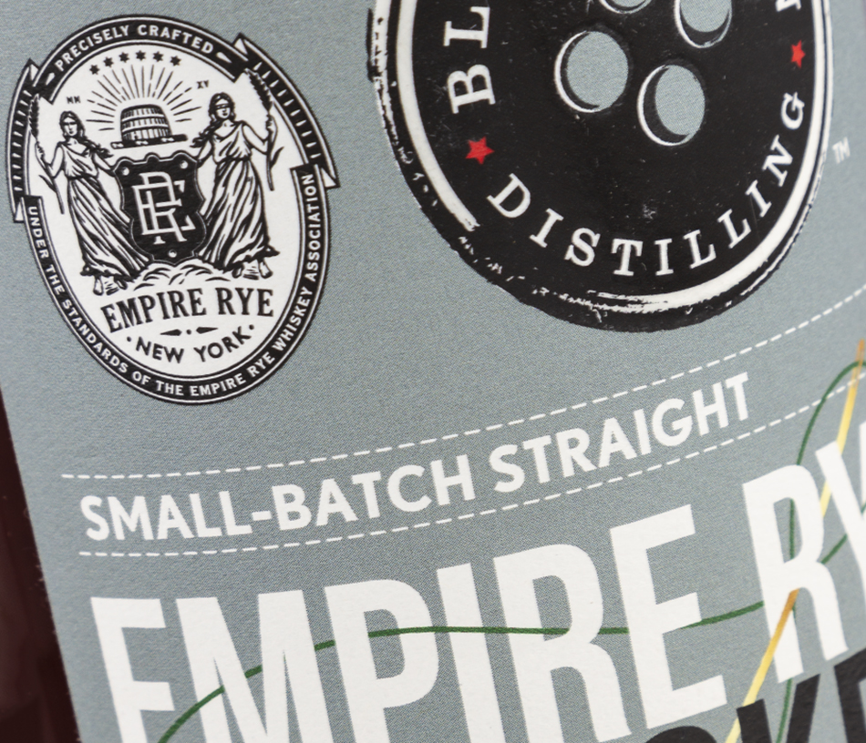The label for Black Button Distilling's Empire Rye Whiskey with the Empire Rye seal. Photo ©2021, Mark Gillespie/CaskStrength Media.