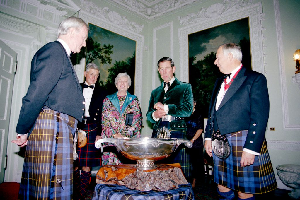 His Royal Highness, The Prince of Wales (Duke of Rothesay) when he was made an Honorary Keeper at Blair Castle in 1996. Photo courtesy Keepers of the Quaich.