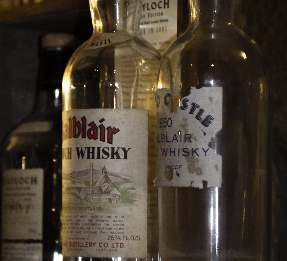 Vintage Scotch Whisky bottles at the Dornoch Castle Hotel bar. File photo ©2021, Mark Gillespie/CaskStrength Media.