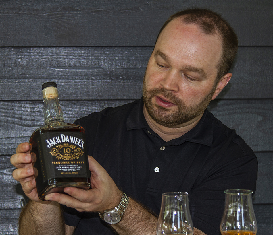Jack Daniel's Master Distiller Chris Fletcher explains the unique method for maturing the Jack Daniel's 10-Year-Old Tennessee Whiskey. Photo ©2021, Mark Gillespie/CaskStrength Media.